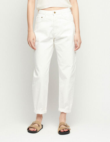 Ecru baggy trousers with stitching - View all > - Nícoli