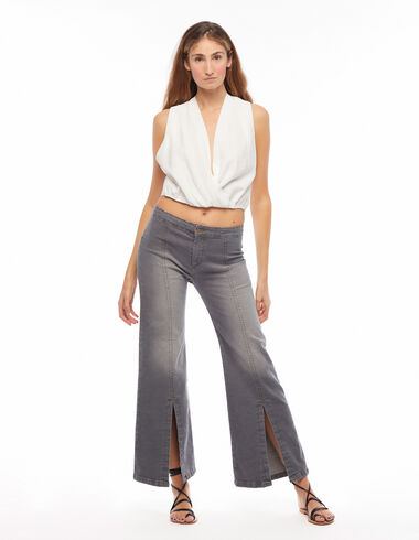 Anthracite flared trousers with vent - Denim - Nícoli