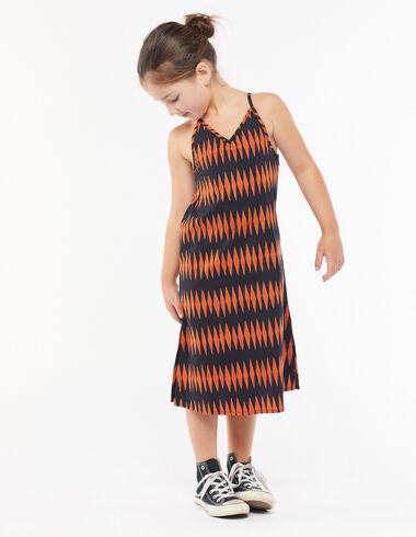 Vestido largo rombos naranja - The Spring Colour For Kids - Nícoli