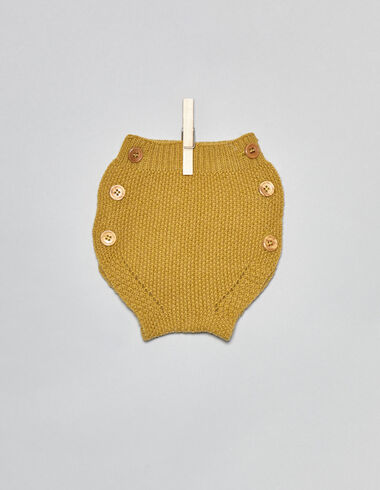 Mustard baby bloomers with buttons - Bloomers - Nícoli