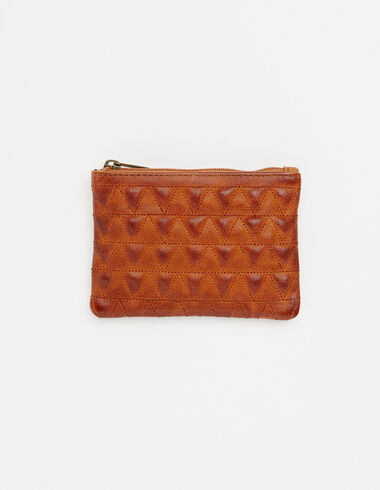 Walnut tone leather coin purse with triangle details - View all > - Nícoli