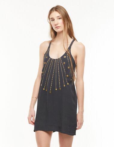 Robe billes dorées anthracite - The B&W Dress - Nícoli