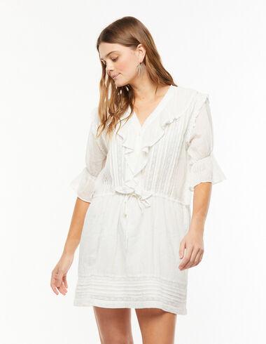 White lace ruffle dress - The B&W Dress - Nícoli