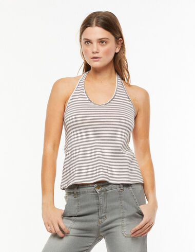V-neck tie back pink and anthracite striped top - View all > - Nícoli