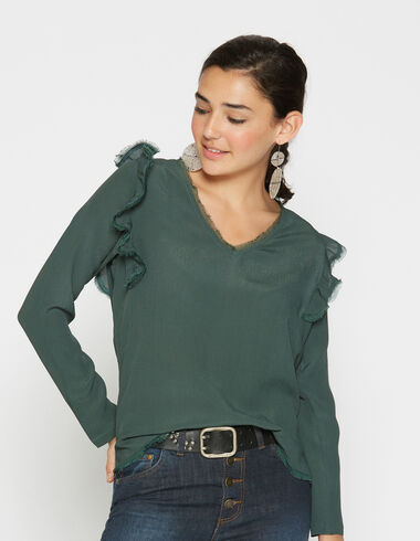 Girl's dark green shoulder ruffle blouse - View all > - Nícoli