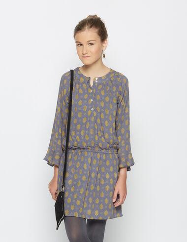 Robe froncée buti moutarde col rond pour petites filles - Robes - Nícoli