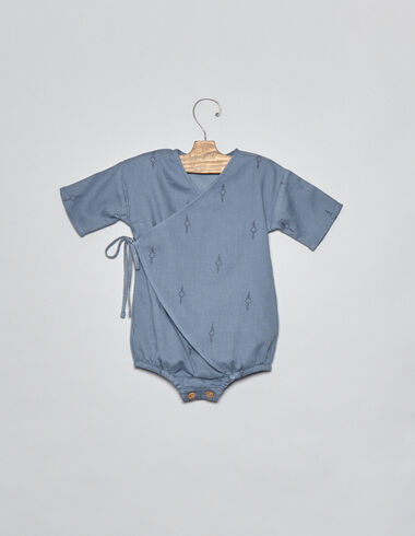 Mono cruzado bebé espiga azul - Monos y petos - Nícoli