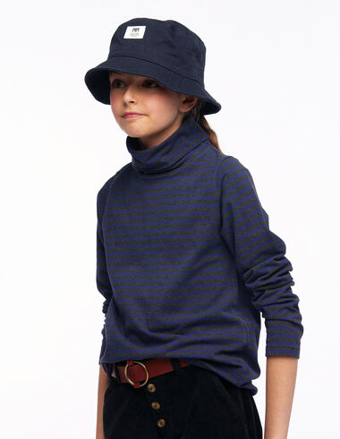 T-shirt col roulé rayure anthracite et bleu - Tee-shirts - Nícoli