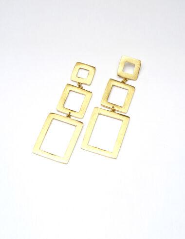 Pendientes dorados triple rectángulo - Pendientes - Nícoli