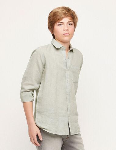 Chemise col V lin vert clair - Chemises - Nícoli