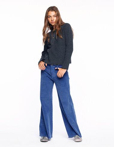 Pantalon wide leg côtelé bleu - Voir tout > - Nícoli