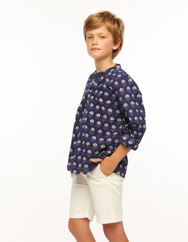 Blue buti grandad collar shirt - Ropa - Nícoli