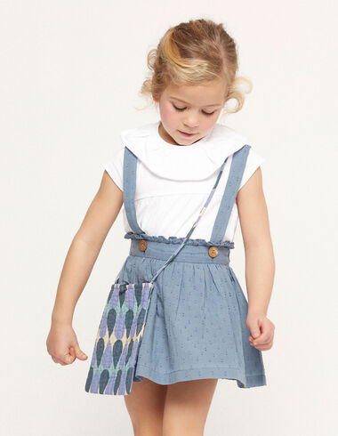 Blue plumeti skirt with straps - View all > - Nícoli