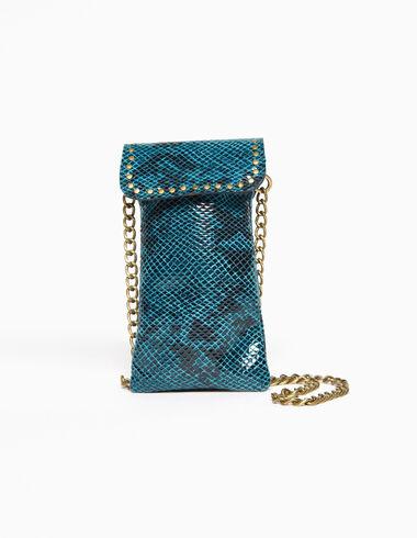 Bolso mini rectangular serpiente azul - Bolsos - Nícoli