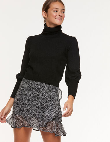 Anthracite floral ruffle skirt - View all > - Nícoli