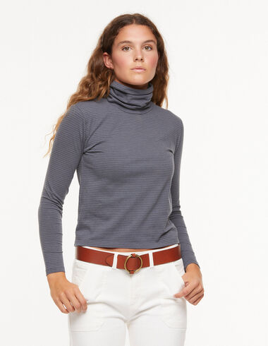 Ecru/Anthracite striped turtleneck t-shirt - View all > - Nícoli