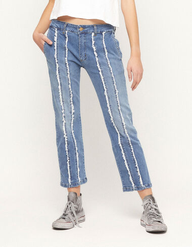 Denim straight leg fringed trousers - View all > - Nícoli