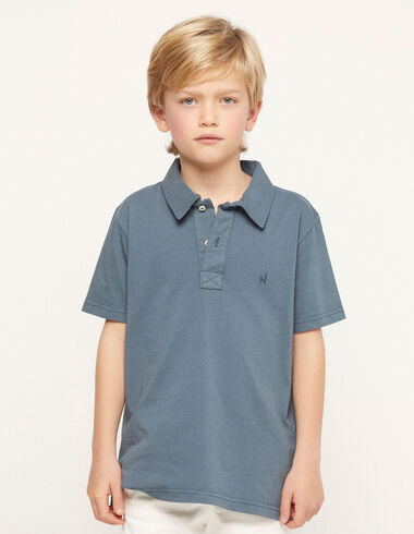 Blue charcoal polo shirt - View all > - Nícoli
