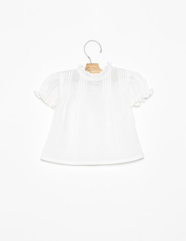 White mock turtleneck pin-tuck shirt - Shirts - Nícoli