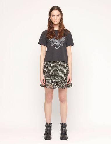 Green zebra print ruffle skirt - Special prices - Nícoli