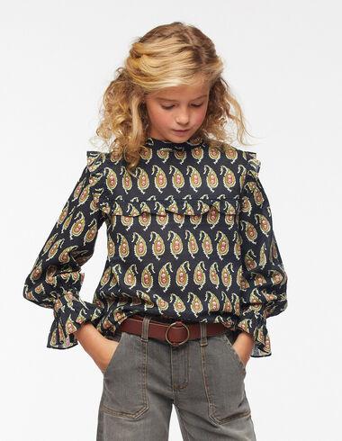 Anthracite paisley grandad collar shirt - The Paisley Print - Nícoli