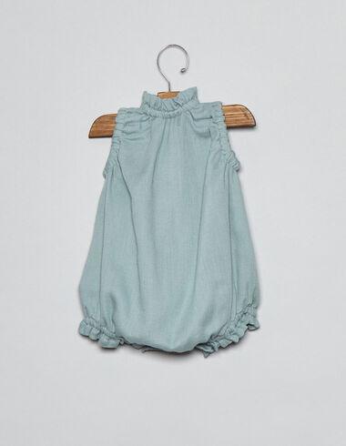 Ranita bebé cuello frunce verde claro - Monos y petos - Nícoli
