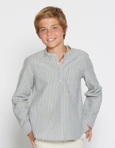Boy's green striped mandarin collar shirt - Shirts - Nícoli