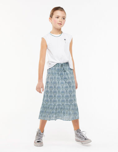 Long blue herringbone ruffle skirt - A Day w/ Isabelle Dubrulle - Nícoli
