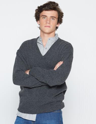 Boy's marengo grey v-neck sweater - View all > - Nícoli