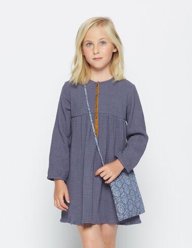 Robe courte velours bleu pour petites filles - Selection enfants - Nícoli