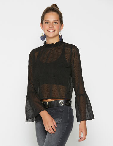 Girl's black polka dot perkins collar blouse - View all > - Nícoli