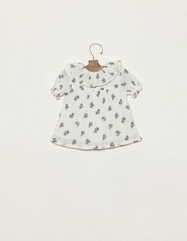 Green flower print blouse with ruffle neck - Shirts - Nícoli