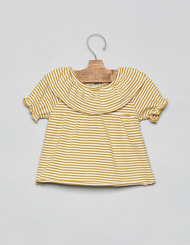 Mustard striped ruffle neck baby top - T-Shirts - Nícoli