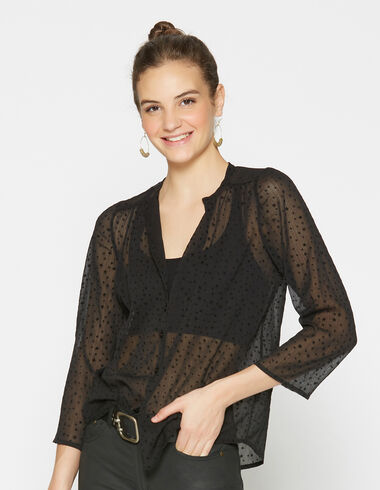 T-shirt noir étoiles pour filles - Chemises - Nícoli