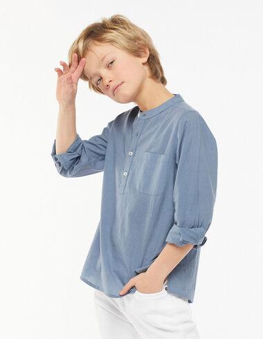 Chemise col Mao poche bleu foncé - Chemises - Nícoli