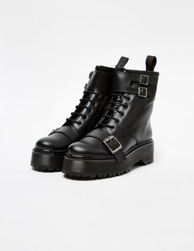 Black army boots with black buckle - Shoes - Nícoli