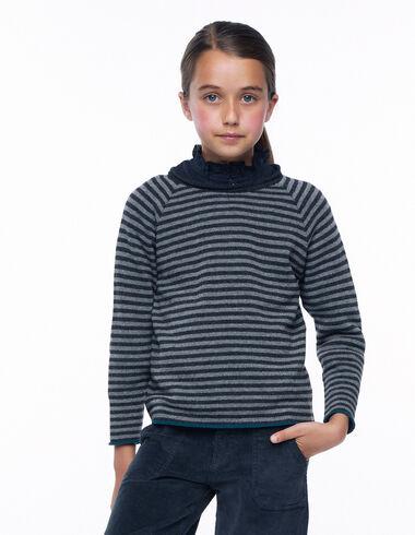Pull rayures contraste vert foncé - The Striped Jumper - Nícoli