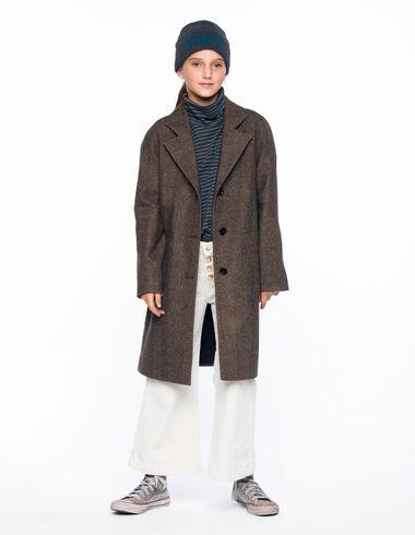 Brown herringbone lapel collar coat - View all > - Nícoli