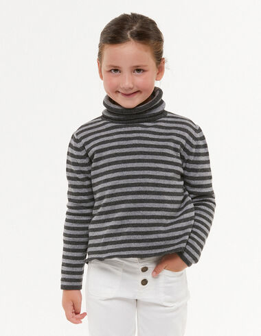 Pull col roulé rayures anthracite/gris - Pulls et Sweatshirts - Nícoli
