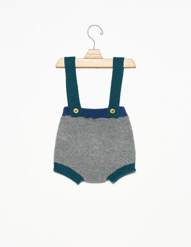 Grey two-tone bloomers with straps - Rompers & Dungarees - Nícoli