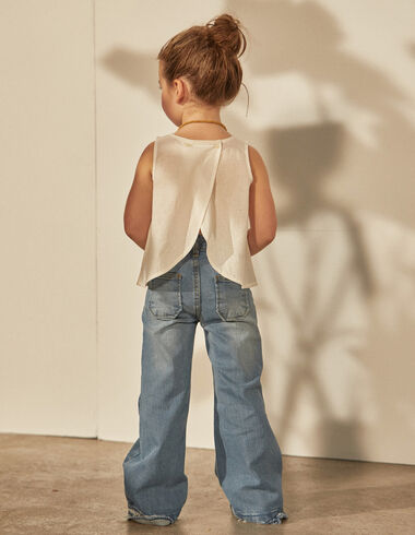 Girl's white crossover blouse - Shirts - Nícoli