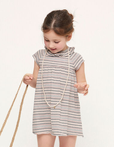 Pink striped ruffle neck dress - View all > - Nícoli