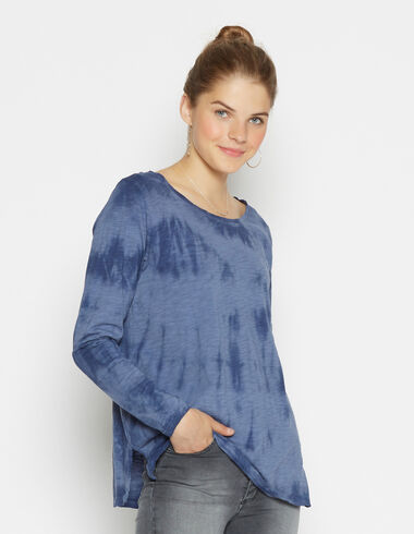 Girl's blue tie dye blouse - T-Shirts - Nícoli