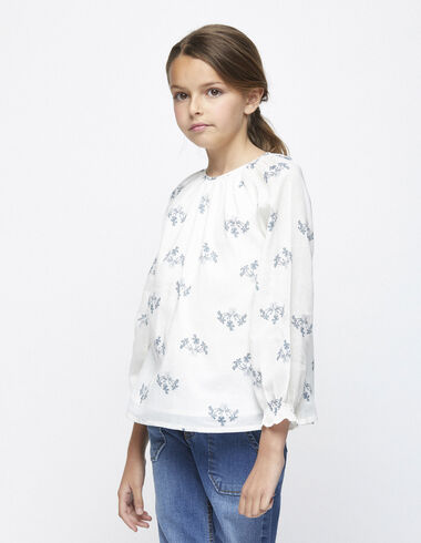 Blue branch ranglan sleeve blouse - Shirts - Nícoli