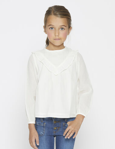 Girl's natural ruffle v-neck blouse - View all > - Nícoli