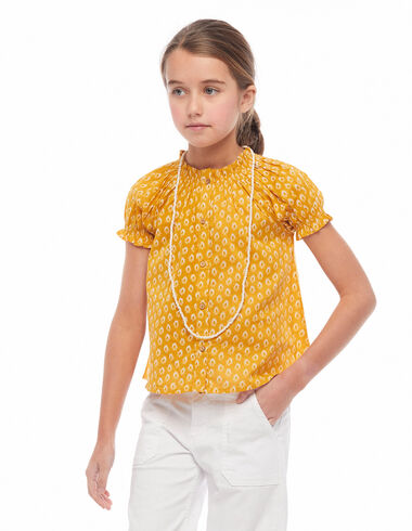 Chemise col perkins boutons feuilles moutarde - Chemises - Nícoli