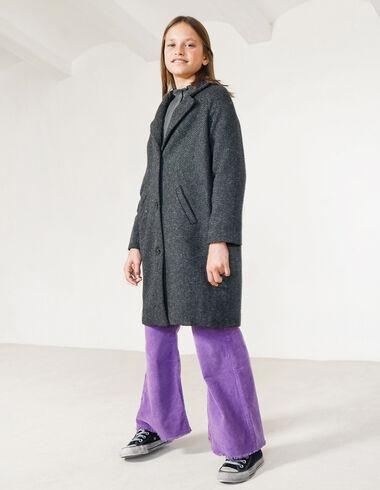 Black herringbone lapel coat - View all > - Nícoli