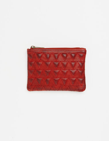 Red leather coin purse with triangle details - View all > - Nícoli