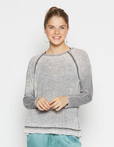 T-shirt effiloché noir pour filles - Tee shirts - Nícoli