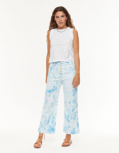 Blue tie dye buttoned trousers with pockets - Denim - Nícoli